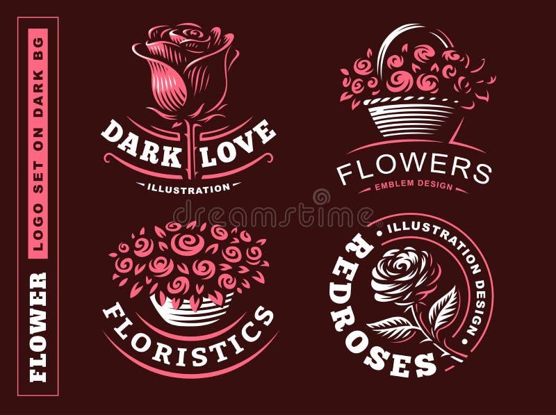 Uppsättningen blommar logoen - vektorillustrationen, emblem på mörk bakgrund stock illustrationer