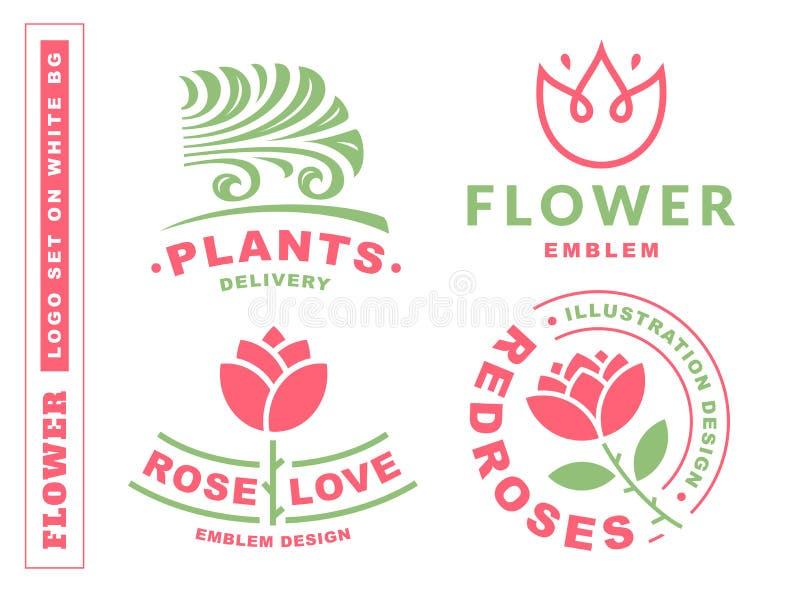 Uppsättningen blommar logoen - vektorillustrationen, emblem på vit bakgrund royaltyfri illustrationer