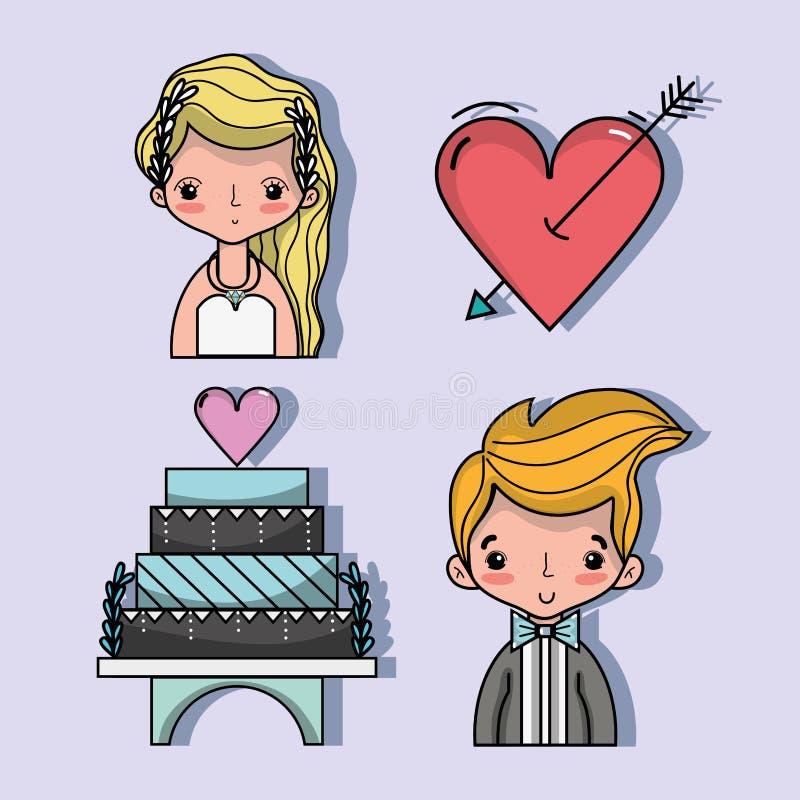 Uppsättningen bried och brudgummen med pastell och hjärta med pilen vektor illustrationer