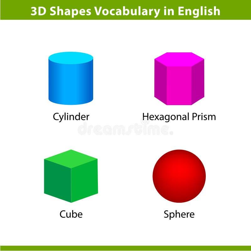 Uppsättningen 3D formar ordlista i engelska med deras samling för namngemkonst för barnet som lär, färgrik geometrisk formbi stock illustrationer