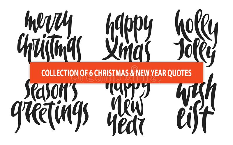 Uppsättningen dragen unik typografi av för 6 vektor för jul och för nytt år handen planlägger beståndsdelar för affischer, hälsni vektor illustrationer