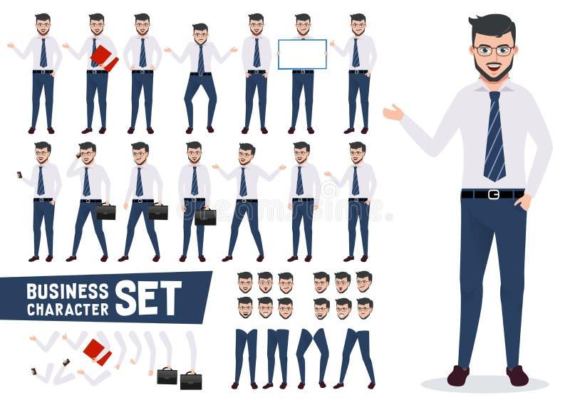 Uppsättningen för affärsteckenvektorn med den manliga affärsmannen i presentation poserar royaltyfri illustrationer