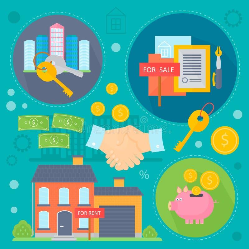Uppsättningen för begreppet för vektorfastighetdesignen med försäljning och uthyrnings- förbättringar för marknadslägenhetsökande royaltyfri illustrationer