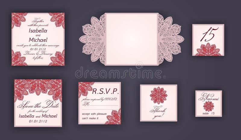 Uppsättningen för designen för tappningbröllopinbjudan inkluderar inbjudankortet, sparar datumet, RSVP-kort, tacka dig att card,  royaltyfri illustrationer