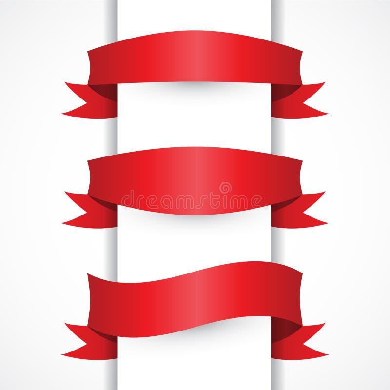 Uppsättningen för det röda bandet för vektorn formar den enkla, bågen, flagga Horisontalröda baner stock illustrationer