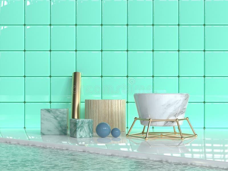 uppsättningen för form för den glansiga/skinande abstrakta gruppen för den gröna väggtegelplattan marmorerar den geometriska text stock illustrationer