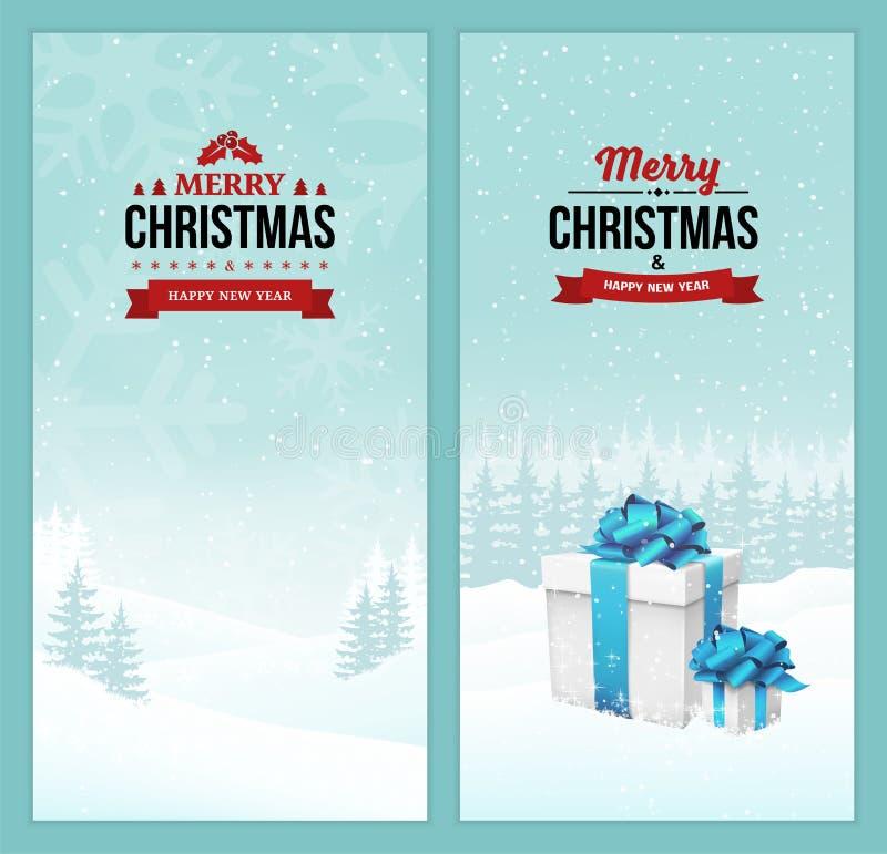 Uppsättningen för glad jul och för det lyckliga nya året av vertikala baner med tappningemblem på ferievinterplatsen landskap bak royaltyfri illustrationer