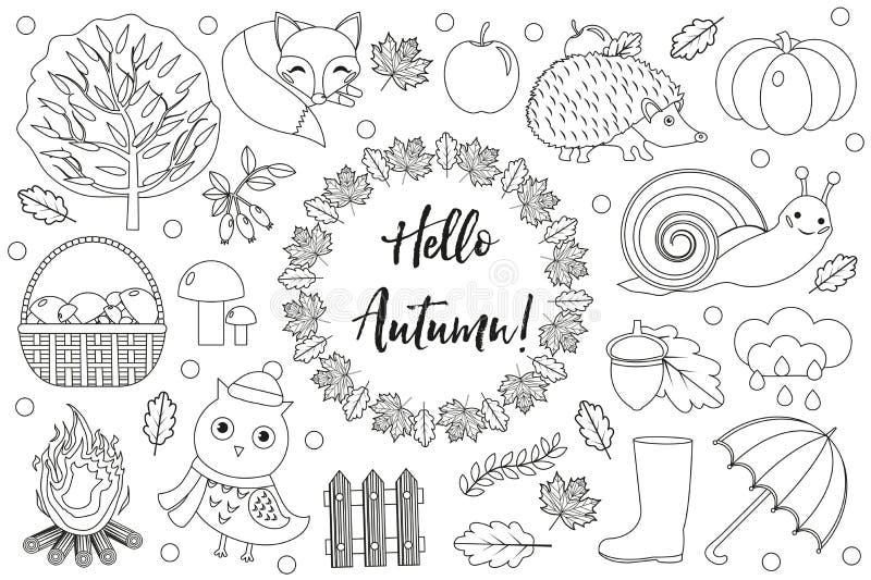 Uppsättningen för Hello höstsymboler skissar, räcker teckningen, klotterstil Samlingsdesignbeståndsdelar med sidor, träd, plocka  vektor illustrationer