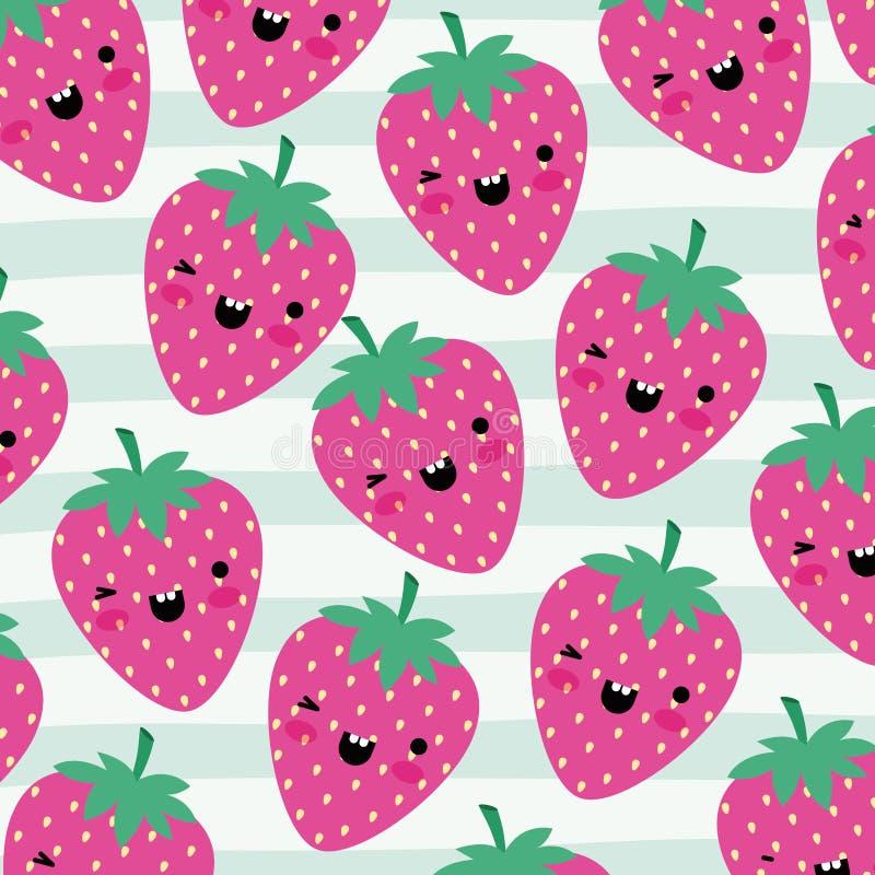 Uppsättningen för modellen för jordgubbekawaiifrukter på dekorativa linjer färgar bakgrund royaltyfri illustrationer