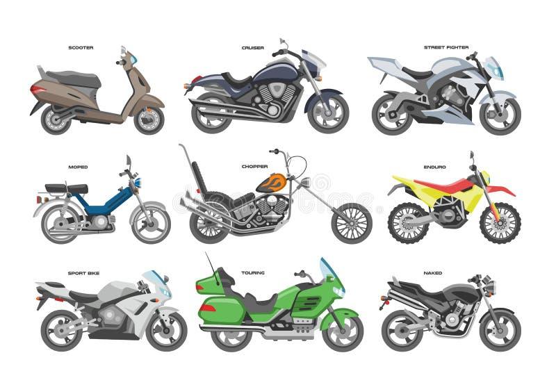 Uppsättningen för motorcycling för illustrationen för för den motorcykelvektormopeden eller avbrytaren och för bilismcirkulerings royaltyfri illustrationer