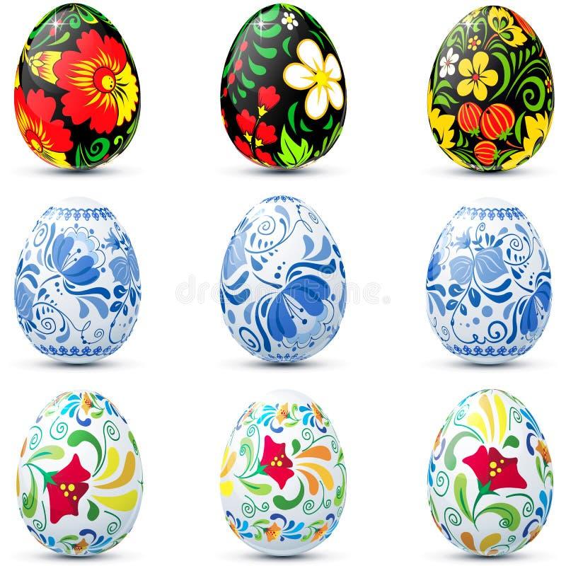 Uppsättningen för påskäggsymbolen i traditionell ryss utformar royaltyfri illustrationer