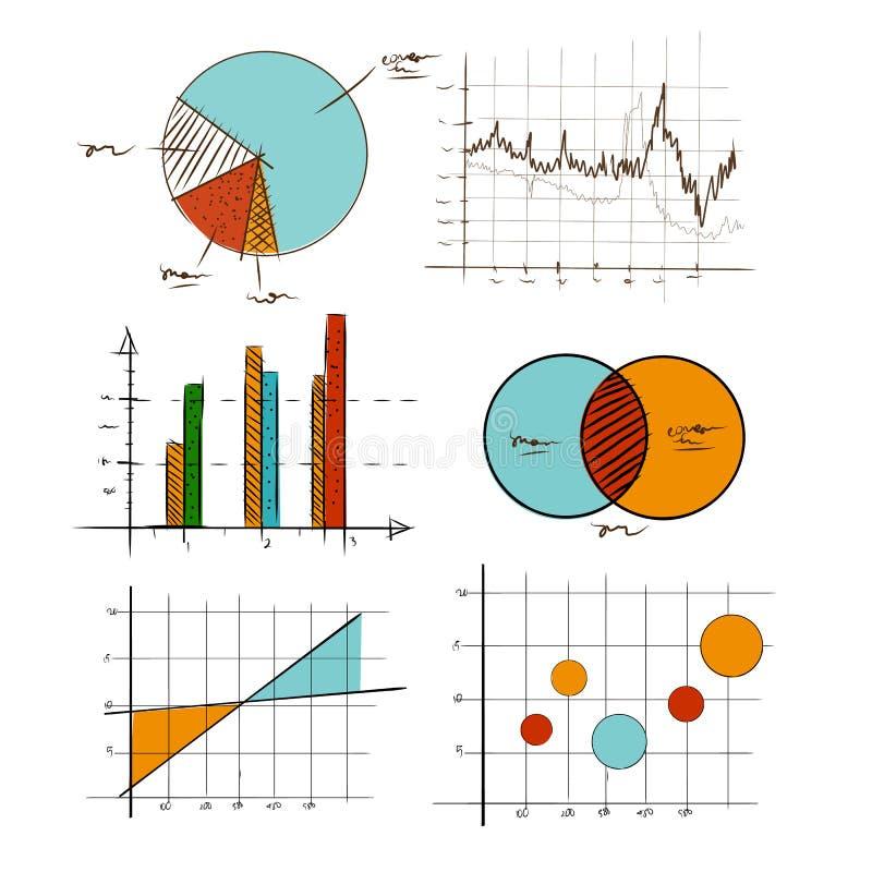 Uppsättningen för samlingen för handteckningsdiagrammet bommar för den grafiska för affärs- och statistikutbildning liksom venn-d royaltyfri illustrationer