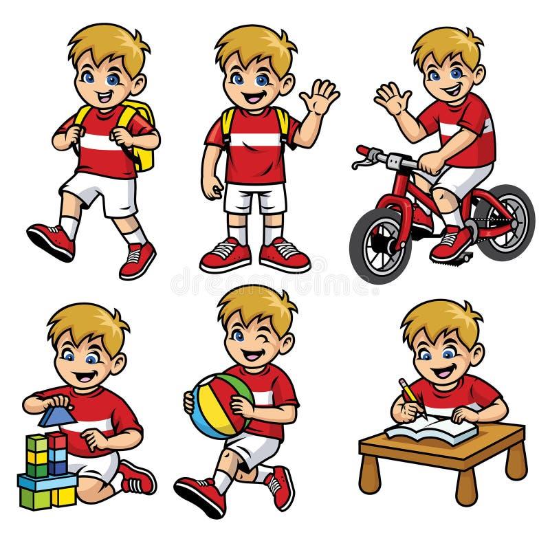 Uppsättningen för skolapojken i olikt poserar och aktiviteter vektor illustrationer