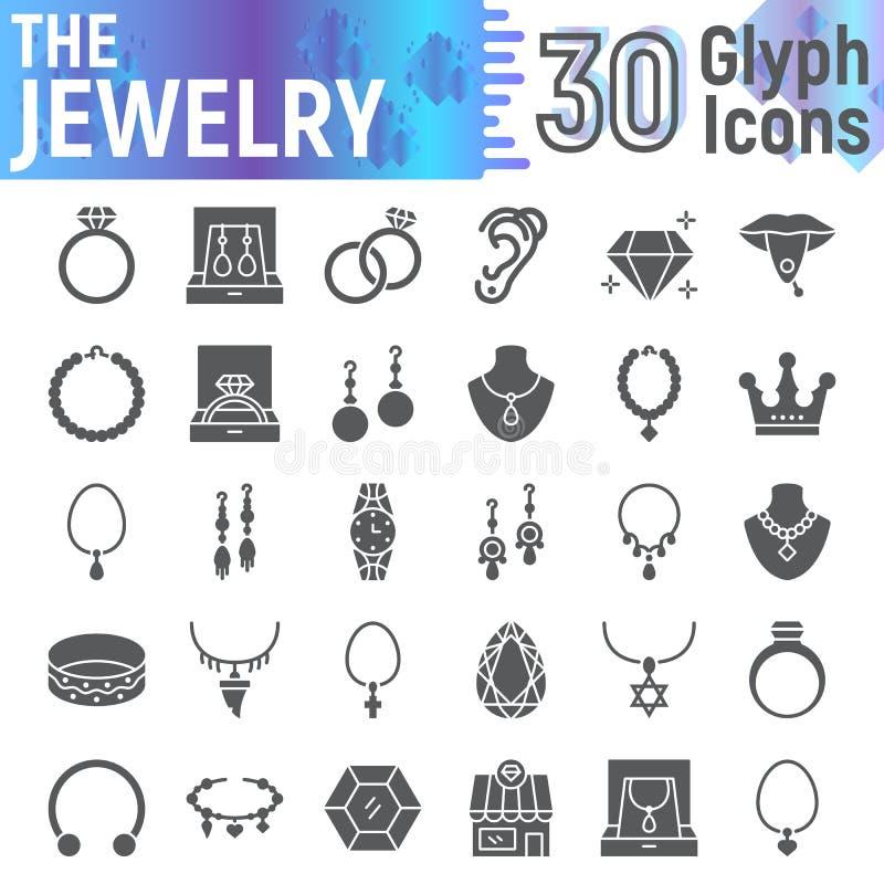 Uppsättningen för smyckenskårasymbolen, åtföljande symboler samlingen, vektor skissar, logoillustrationer, fasta pictograms för j royaltyfri illustrationer