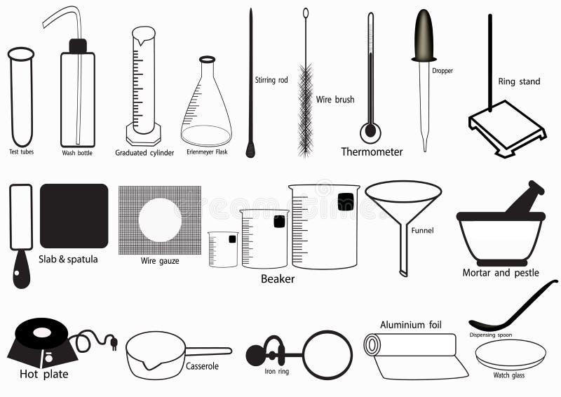 Uppsättningen för symbolen för vektorn för vetenskapslabbet, kemiska symboler ställde in, det kemiska laboratoriumet, kemisk glas vektor illustrationer