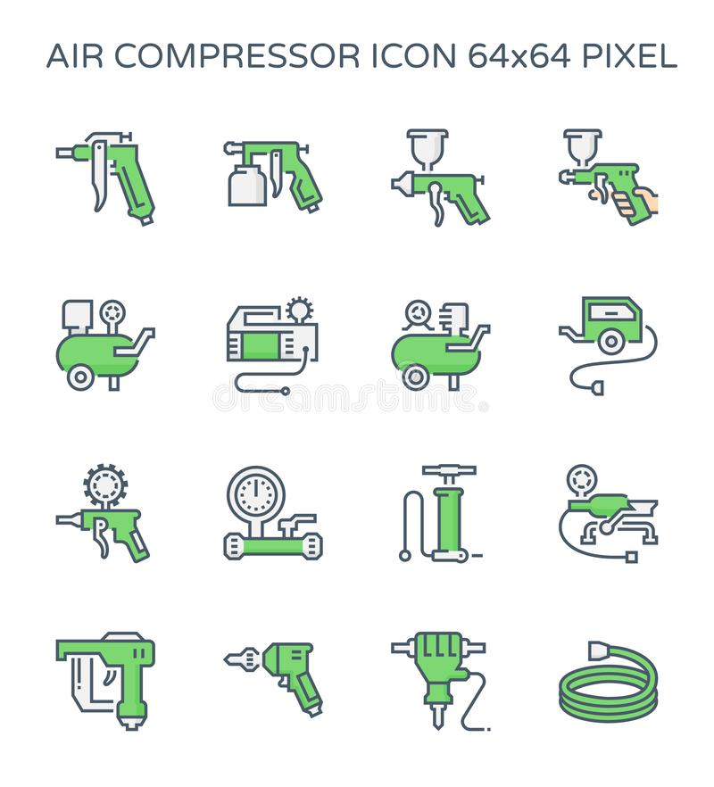 Uppsättningen för symbolen för luftkompressorn och hjälpmedel, 64x64 gör perfekt PIXELet och den redigerbara slaglängden royaltyfri illustrationer