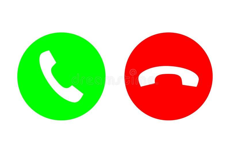 Uppsättningen för symbolen för påringningvektorlägenheten med grön appell ut eller svarsknappen och rött hänger upp eller går ned royaltyfri illustrationer