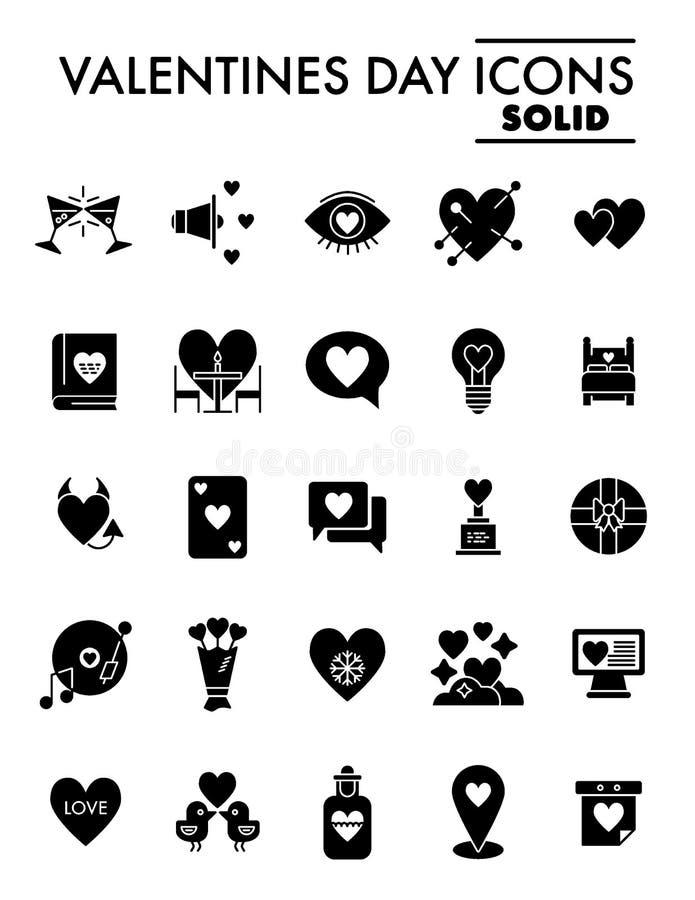 Uppsättningen för symbolen för valentindagskåran, kärleksaffärsymboler samlingen, vektor skissar, logoillustrationer, fast  vektor illustrationer