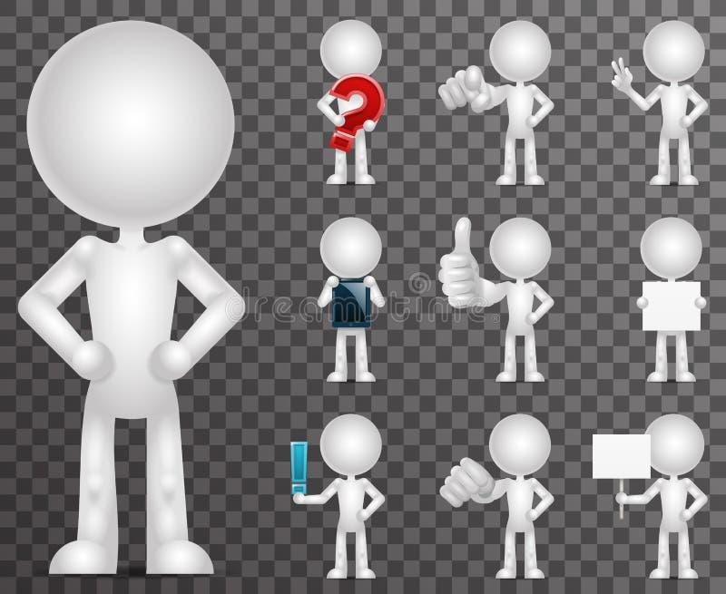 uppsättningen för symboler för tecknade filmen för det tomma teckenet 3d framför den tomma designvektorillustrationen vektor illustrationer