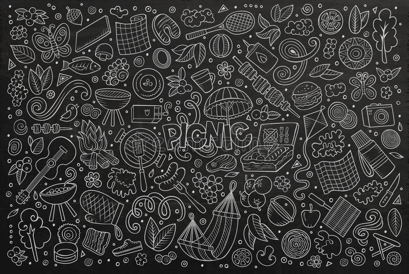 Uppsättningen för tecknade filmen för svart tavlavektorklottret av picknicken anmärker vektor illustrationer