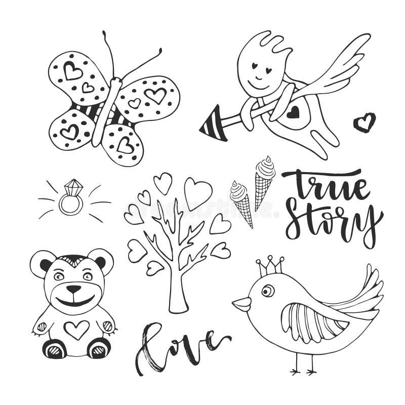 Uppsättningen för vektorförälskelsedagen av det gulliga klottret skissar designbeståndsdelar Den kupidon-, fågel-, fjärils- och f royaltyfri illustrationer