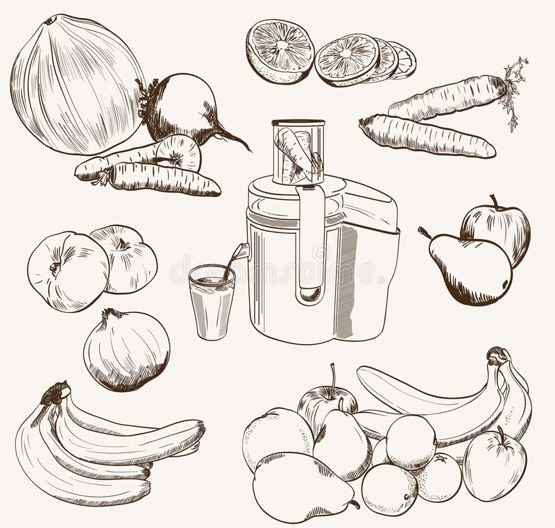 Uppsättningen för vektorfruktfruktsaft skissar vektor illustrationer
