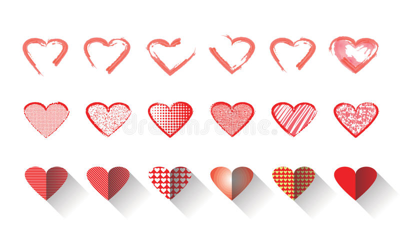Uppsättningen för vektorillustrationsymbolen av röda hjärtor formar för valentins dag stock illustrationer
