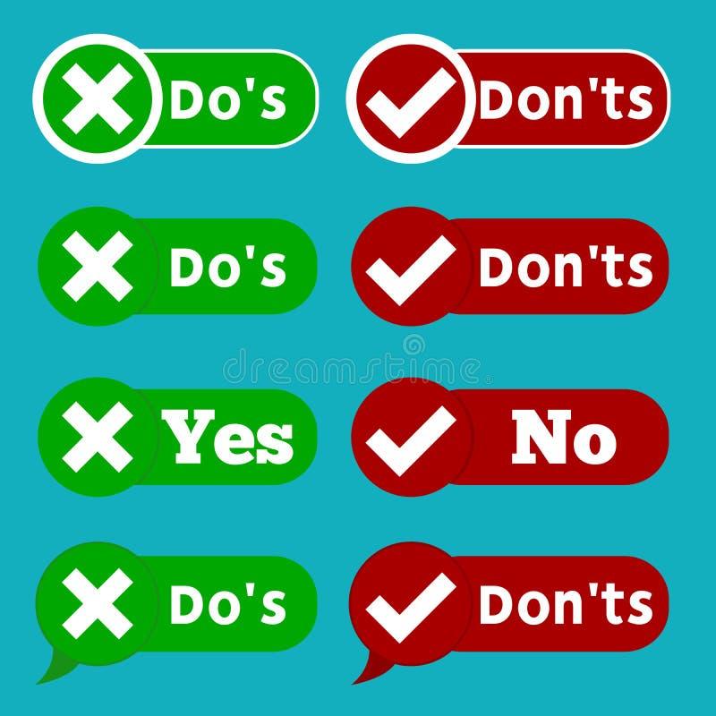Uppsättningen gör och kontrollerar inte fästingfläcken, och Röda korsetcheckboxsymboler planlägger på blå bakgrund stock illustrationer