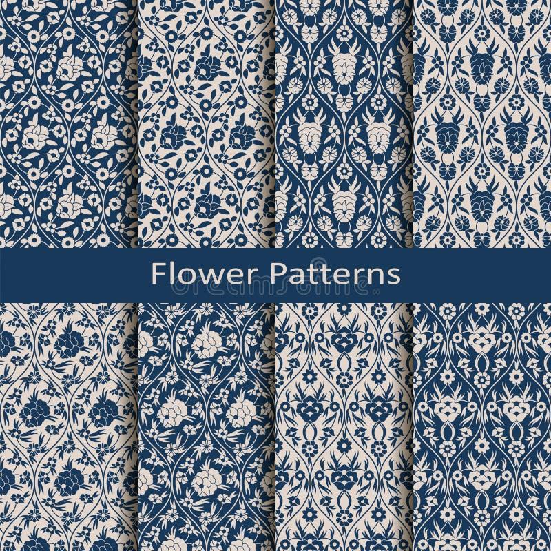 Uppsättningen med åtta blom- modeller för sömlös vektorarabesque med tappning skrivar ut planlägg för textil och att förpacka, mo stock illustrationer