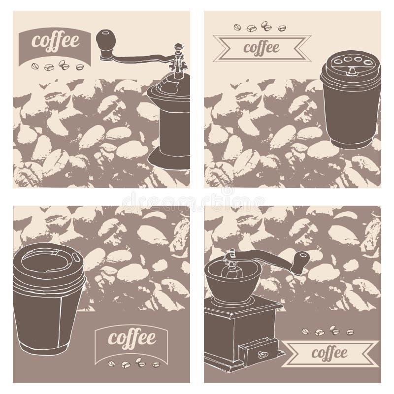 Uppsättningen med olikt kaffe anmärker på sepiatappningbakgrund: koppar kaffekvarnar, kaffebryggare, kaffebönor vektor illustrationer
