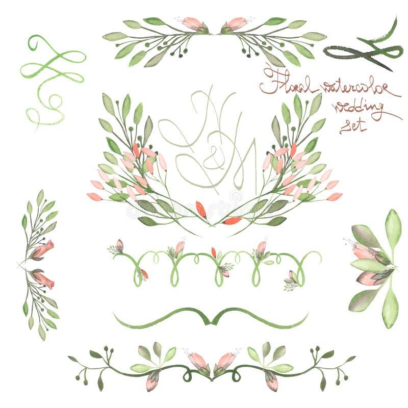 Uppsättningen med ramen gränsar, blom- dekorativa prydnader med vattenfärgen blommar, sidor och filialer för att gifta sig royaltyfri illustrationer