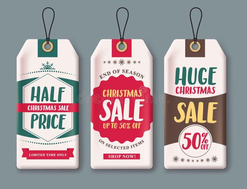 Uppsättningen och etiketter för Sale etikettsvektor för jul kryddar att hänga i vitbok royaltyfri illustrationer