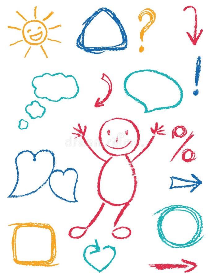 Uppsättningen och symbolet för färgpennadesignbeståndsdel som barn` s som drar roligt konstslaglängdklotter, skissar stil stock illustrationer