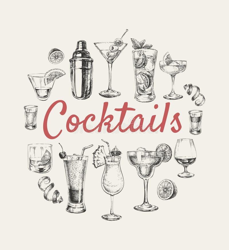 Uppsättningen skissar coctailar, och alkoholdrinkar räcker den utdragna illustrationen stock illustrationer