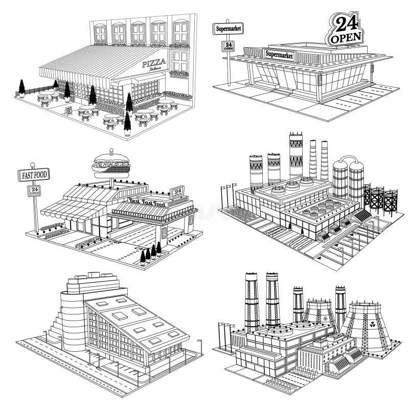 Uppsättningen skissar isometriska byggnader av kafét, pizzeria, hotellet, supermarket, fabriken, den isolerade kärnkraftverket royaltyfri illustrationer