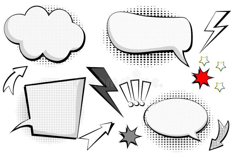 Uppsättningen som är retro av tecknade filmen, anförande skissar bubbles komiskt anförande Den tomma dialogen fördunklar i stil f vektor illustrationer