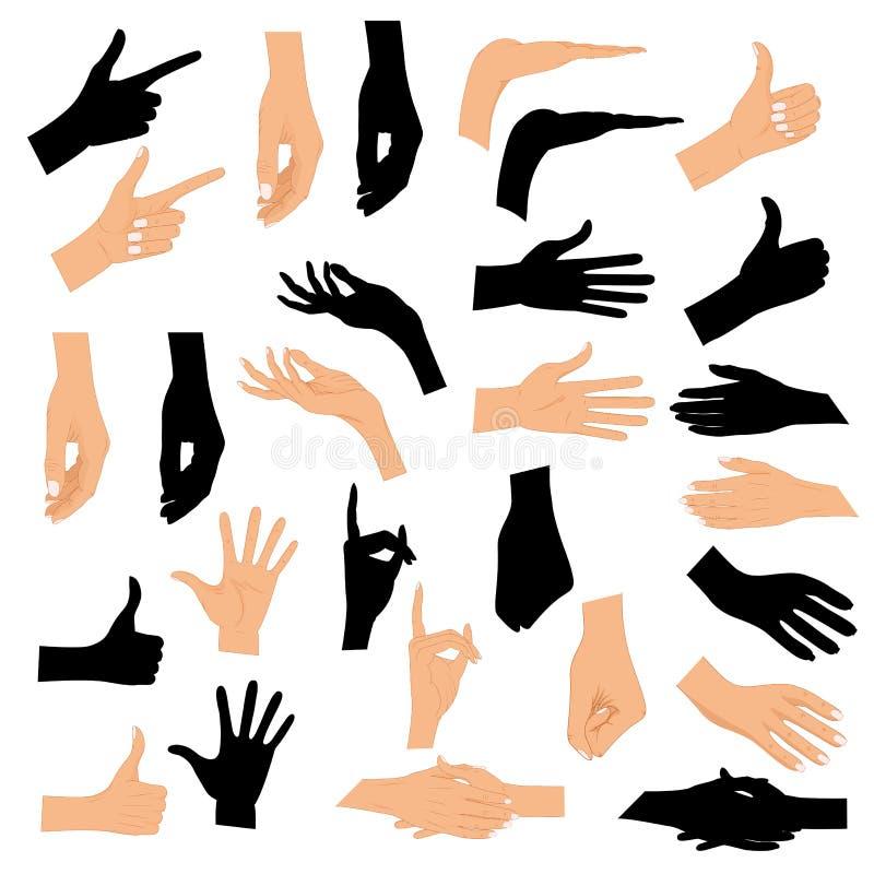 Uppsättninghänder i olika gester med en svart kontur som isoleras på vit bakgrund Kulör uppsättning för handgest med vektor illustrationer
