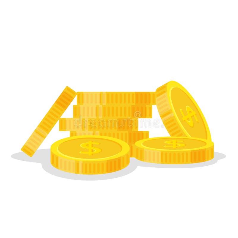 Uppsättningmynt staplar vektorillustrationen, högen för symbolslägenhetfinans, dollarmynthög Guld- pengaranseende på staplat, gul stock illustrationer