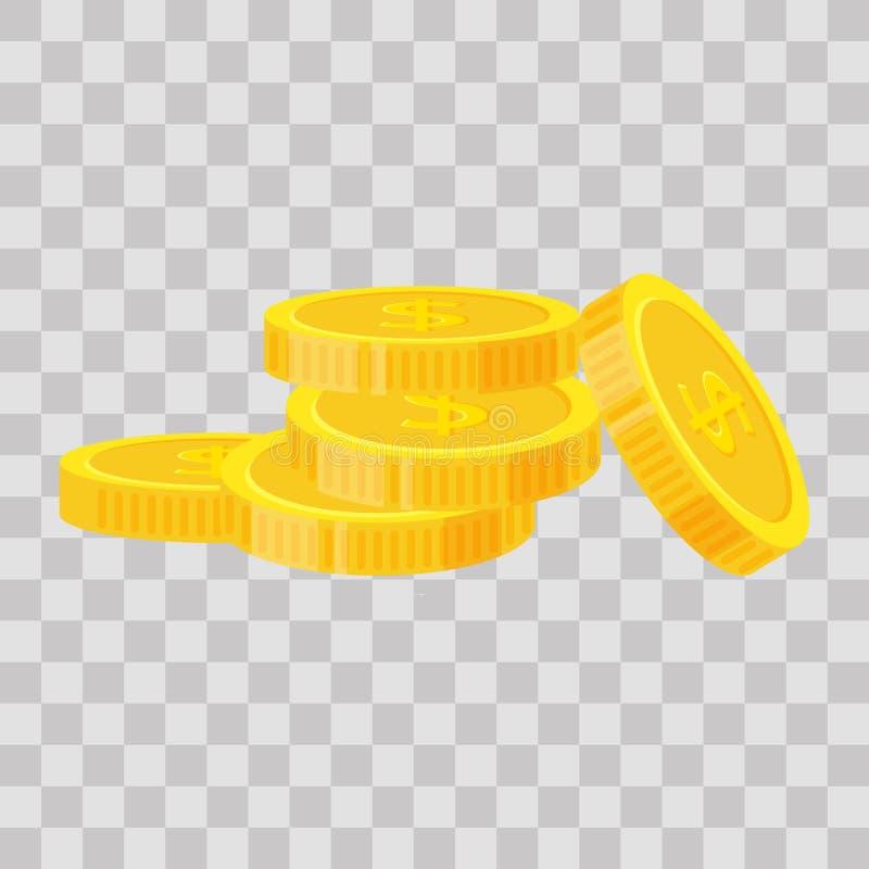 Uppsättningmynt staplar vektorillustrationen, högen för symbolslägenhetfinans, dollarmynthög Guld- pengaranseende på staplat, gul royaltyfri illustrationer