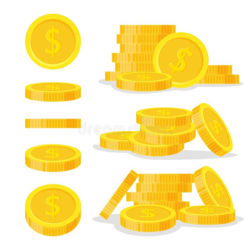 Uppsättningmynt staplar vektorillustrationen, högen för symbolslägenhetfinans, dollarmynthög Guld- pengaranseende på staplat, gul vektor illustrationer