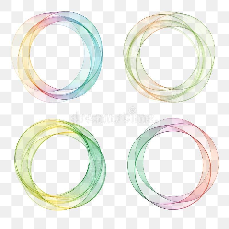 Uppsättningsamlingen av den moderiktiga mångfärgade överlappande genomskinliga cirkeln formade logodesignbeståndsdelar royaltyfri illustrationer