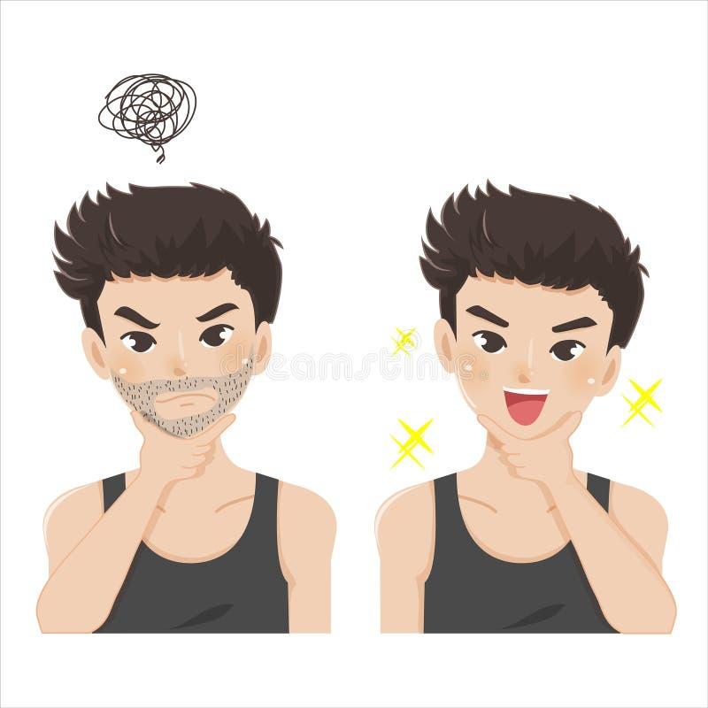 Uppsöka att raka för stiliga män royaltyfri illustrationer
