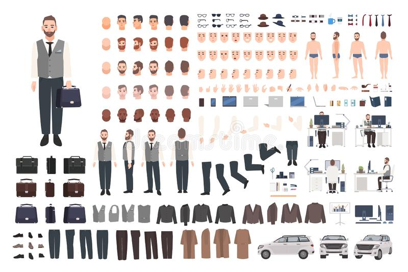 Uppsökt uppsättning för skapelse för kontorsarbetare, kontorist- eller chefeller DIY-sats Packe av manliga kroppsdelar för teckna royaltyfri illustrationer