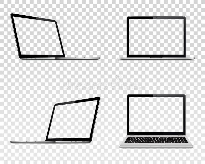 Upps?ttning av b?rbara datorn med den genomskinliga sk?rmen B?sta och fr?mre sikt f?r perspektiv, royaltyfri illustrationer