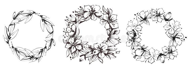 Upps?ttning av blom- runda ramar Behagfulla kransar av l?sa blommor och sidor Svartvit illustration royaltyfri illustrationer