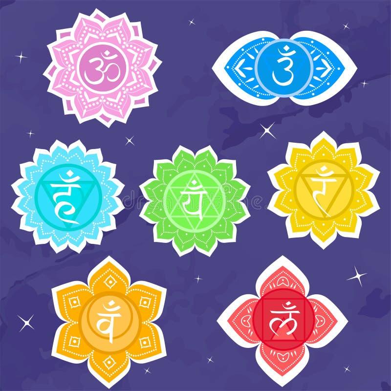 Upps?ttning av chakras Symbolmeditation och negro spiritual, yogabuddhism och energi ocks? vektor f?r coreldrawillustration royaltyfri illustrationer