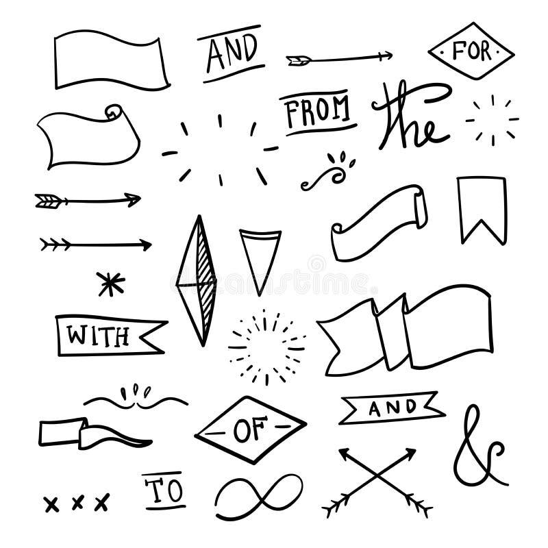 Upps?ttning av dekorativa Calligraphic best?ndsdelar f?r garnering Hand drog linjer Hand-märkte et-tecken och slagordar royaltyfri illustrationer