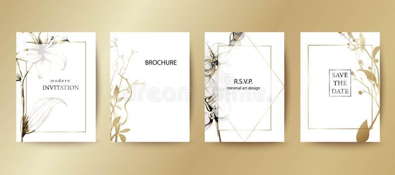 Upps?ttning av den eleganta broschyren, kort, r?kning Svartvit guld- botanisk design Utdragna liljor f stock illustrationer