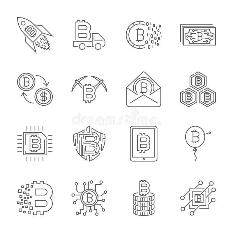 Upps?ttning av den tunna linjen slagl?ngdvektor Bitcoin och Cryptocurrency symboler royaltyfri illustrationer