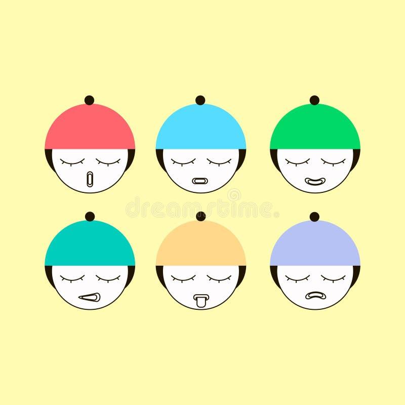 Upps?ttning av emoticons eller emojiillustrationlinjen symboler Le symbolslinjen isolerad vektorillustration f?r konst p? gul bak royaltyfri illustrationer